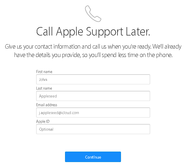 apple call support form